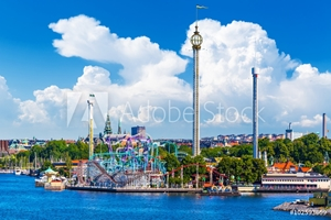 Picture of Amusement park Grona Lund on Djurgarden island in Stockholm, Swe